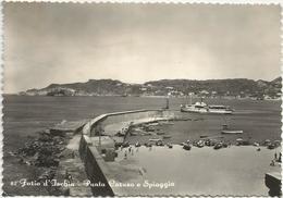 Y4846 Forio D'Ischia (Napoli) - Punta Caruso E Spiaggia - Barche Boats Bateaux - Panorama / Viaggiata 1953 - Other Cities