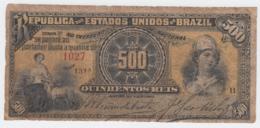 Brazil 500 Reis 1893 G-VG Pick 1b - Brazil