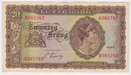 Luxembourg 20 Francs 1943 VF++  Pick 42 - Luxemburgo