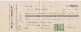Bruxelles, Chèque Maison I.Rotman. - Chèques & Chèques De Voyage