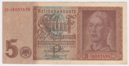 GERMANY NAZI 5 Reichsmark 1942 VF+ Pick 186a 186 A - [ 4] 1933-1945 : Third Reich