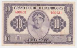 LUXEMBOURG 10 FRANCS 1944 VF Pick 44 - Luxemburgo