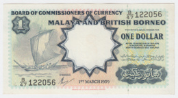 Malaya British Borneo 1 Dollar 1959 XF Pick 8A - Malaysia