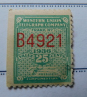 1936  USA  Western Union Telegraph Company Unused 25 Cents Stamp  Scot# 16t89  AST2-160 - Telegraph Stamps