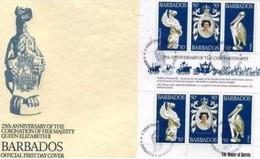 BARBADOS - 21 4 1978 BUSTA  FDC FOGLIETTO 25° ANNIVERSARIO INCORONAZIONE S.A.R. ELISABETTA II - Barbados (1966-...)