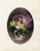 Collection Marcel Bloch 1920 Belle Lithographie Signee Originale Vue Ovale Elegante Au Chapeau Sur Papier 13.5 X10 - Lithografieën