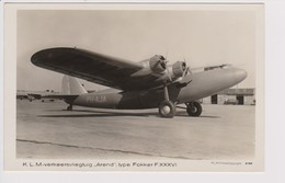 Vintage Rppc KLM K.L.M. Royal Dutch Airlines Fokker F-36  @ Schiphol Airport - 1919-1938: Between Wars