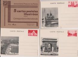 Pochette De 5 Cartes Illustrées PARIS ( Avec Entier Postal 90 C Rouge  ) - Entiers Postaux