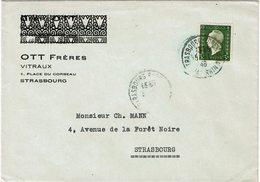 LCTN59/ALS 2 - DULAC 3fr SEUL SUR LETTRE  STRASBOURG POUR VILLE 5/1/1946 - France