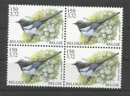 OCB 2988 Postfris Zonder Scharnier ** In Blok Van 4 - 1985-.. Pájaros (Buzin)