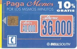 TARJETA DE ECUADOR DE BELLSOUTH DE 40000 SUCRES PAGA 10% MENOS - Ecuador