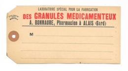 Pharmacie - Etiquette Ancienne De Colis - Pharmacie Bonnaure - Alais - Autres Collections
