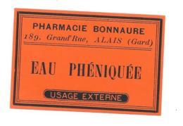 Etiquette Pharmacie Bonnaure Alais - Solution Phéniquée - Autres