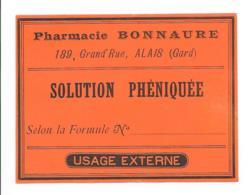 Etiquette Pharmacie - Eau Phéniquée - Pharmacie Bonnaire Alais - Autres