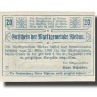 Billet, Autriche, Riedau, 20 Heller, Blason 1920-12-31, SPL Mehl:FS 837II - Austria