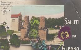 ALBANO LAZIALE-ROMA-SALUTI DA-IMMAGINE SU MOTIVO FLOREALE-CARTOLINA VERA FOTOGRAFIA- VIAGGIATA IL 30-1-1910 - Autres