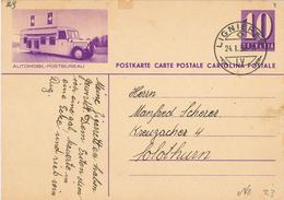 Bildpostkarte Ganzsache Automobil-Postbureau - Lignieres 1938 - Ganzsachen