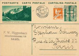 Bildpostkarte Ganzsache Champery Et Les Dents-du-Midi - Basel Briefversand 1932 Abrüstung - Karte Nach Paris - Postwaardestukken