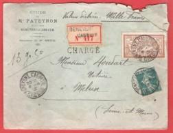 L  TP  55 C Chargé  Obl BENEVENT L'ABBAYE (Creuse)  Notaire PATEYRON   Vers MELUN (obl Au Verso) Notaire HOUDART - Francia