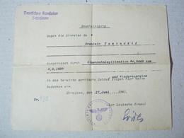 Deutsches Konsulat Sarajevo, 1941. ( WW2 ) - Signatur Der Deutsche Konsul - 1939-45