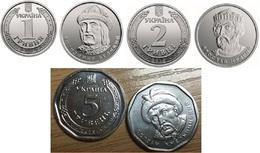 Ukraine - Set 3 Coins 1 + 2 Hryvni + 5 Hryven 2018 ( 2019 ) UNC Lemberg-Zp - Ucraina