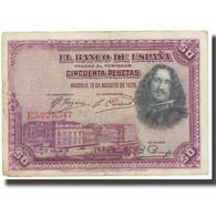 Billet, Espagne, 50 Pesetas, 1928, 1928-08-15, KM:75b, TB - [ 2] 1931-1936 : Repubblica