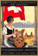 Lausanne Fête Fédérale De Chant 6-17 Juillet 1928 - Harpe - Musique - Drapeau Suisse - Musique