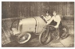 Oldtimer  Moto Foire Publicité Belgian Oil Spectacle Cirque Acrobaties Mur Vertical - Publicidad