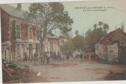 Marcé'sur-Esves  37   Colorisée_La Rue Principale  Tres Tres Animée Et Café - France