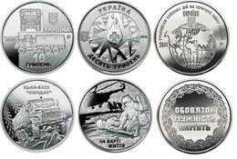 Ukraine Set 3 Coins 10 Hryven 2019 UNC KrAZ-6322 Soldier + Worth A Life + Participants In Hostilities In Other Countries - Ukraine