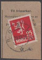 1923. Lion.__ 25 øre Red. LUXUS ROALD 29. XII. 26. (Michel 107) - JF318101 - Gebraucht