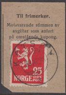 1923. Lion.__ 25 øre Red. LUXUS KOTSØY 30. XII. 26. (Michel 107) - JF318113 - Gebraucht
