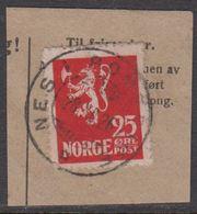 1923. Lion.__ 25 øre Red. LUXUS NES I ROMERIKE 28. XII. 26. (Michel 107) - JF318120 - Gebraucht