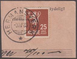 1927. New Liontype. 25 øre Orange Brown. LUXUS HERMANSVERK -3.IV.33 (Michel 126) - JF318129 - Norwegen