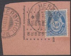 1922. Posthorn. 40 øre Deep Ultramarine. LUXUS HERØYHOLMEN 11. IX. 24. (Michel 103) - JF318224 - Norwegen