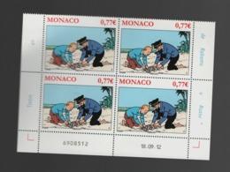 AB12 Monaco ** 2012 2850 X 4 (bloc) Tintin Coin Daté - Monaco