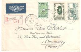 TUNIS RP Lettre Recommandée AVION Dest Commercy Meuse Etiquettes 20F Amphithéatre 50F Hermés Yv 294 314 348 Ob 1951 - Covers & Documents