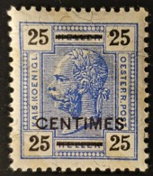 AUSTRIAN POST IN CRETA 1904 - MNH - ANK 10 - 25 Centimes - Lackstreifen - Nuovi
