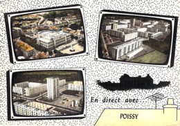 78 - POISSY : Multivues Série En Avion ( HLM Cité Résidence Immeubles ) CPSM Dentelée Grand Format - Yvelines - Poissy