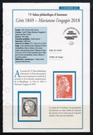 """FR 2019 / 2 FICHES INFO  """" Le Carnet CERES 1849-MARIANNE L'ENGAGEE 2018 """" - France"""