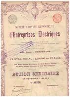 Titre Ancien - Société Anonyme Russo-Belge D'Entreprises Electriques -Titre De 1896 - Déco - Russie
