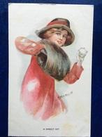 """Cpa--""""Jolie Femme Lance Une Boule De Neige'""""--(my Ref 193) - Illustrateurs & Photographes"""