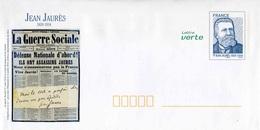 """PAP De 2014 Avec Timbre """"JEAN JAURES"""" Et Illust. """"La Guerre Sociale Du 1er Août 1914"""" (Lot 42J/14F135) - Entiers Postaux"""