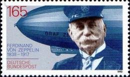 RFA Poste N** Yv:1424 Mi:1597 Ferdinand Von Zeppelin Constructeur De Dirigeables (Thème) - Zeppelins