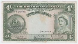 Bahamas 4 Shillings 1953 VF+ Crisp Banknote Pick 13d 13 D - Bahamas