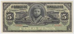 Mexico Tamaulipas 5 Pesos 1914 UNC - Messico