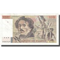 France, 100 Francs, Delacroix, 1991, 1991, TB+, Fayette:69bis.3b2, KM:154e - 1962-1997 ''Francs''