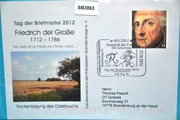SB3863 Sonderstempel: 300. Geburtstag Friedrich Der Große, 15745 Wildau 27.10.2012 - [7] République Fédérale