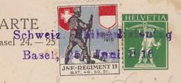 SCHWEIZ. PHILATELISTENTAG 1916  / SEHR SELTENE ENTWERTUNG MIT SOLDATENMARKE KOMBINIERT - Briefe U. Dokumente