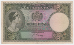 Luxembourg 50 Francs 1944 AVF RARE Pick 45 - Luxemburgo